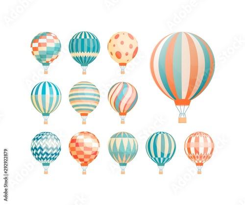 Hot air balloons flat vector illustrations set Canvas Print