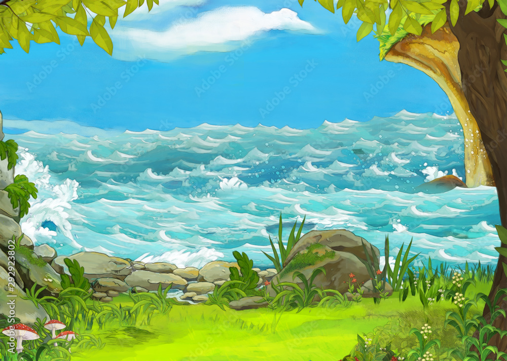 Fototapeta cartoon scene of beautiful shore or beach by the ocean or sea near some forest - illustration for children