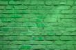 Leinwanddruck Bild - Light green block brick wall for background