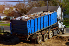 Recycling Container Trash Dumpsters Being Full With Garbage