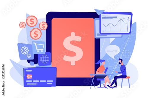 Tablet, bank card and manager using banking software for transactions Wallpaper Mural