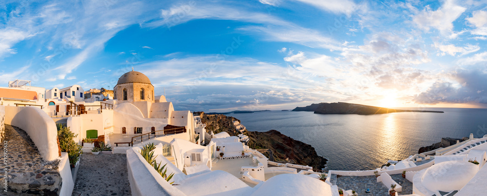 Fototapeta Panorama Oia Village during sunset. Greece Santorini Island