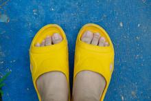 Feet Of A Man Wearing Sandals ...