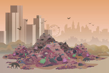 City Landfill Flat Vector Illu...