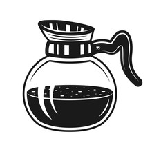 Coffee Glass Pot Vector Monoch...