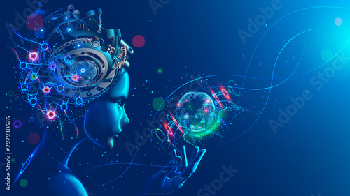 Artificial intelligence in image of cyborg girl with electronic brain Canvas Print