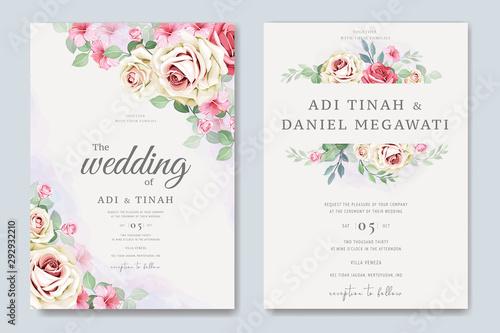 Fototapeta elegant wedding card with beautiful floral and leaves template obraz na płótnie