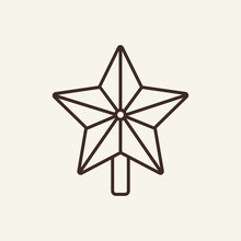 Christmas Star Line Icon