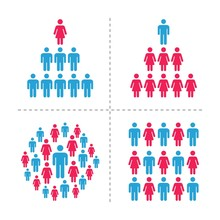 Crowd Of Men And Women Icon Se...