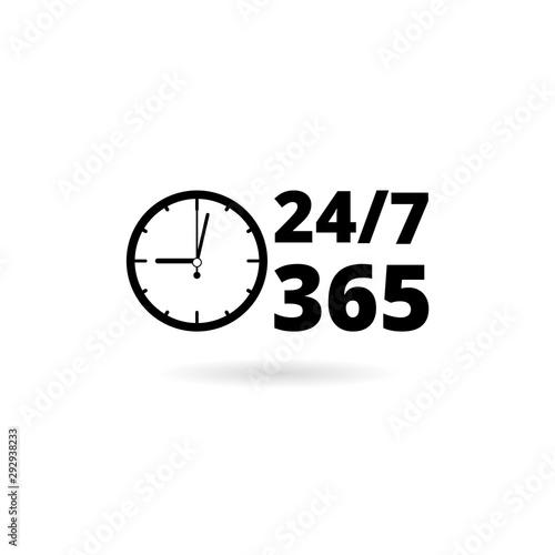 24 7 hours and 365 days icon Billede på lærred