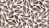 3d Wallpaper glossy white lattice tiles on precious wood background. High quality seamless realistic texture.