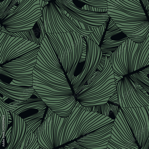 monstera-leaves-seamless-pattern-on-black-background-tropical-pattern-botanical-leaf-backdrop