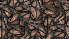 3d Wallpaper Glossy Black Lattice Tiles With Golden Spheres On Precious Wood Background. High Quality Seamless Realistic Texture.