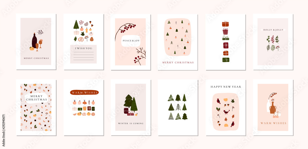 Fototapeta Set of christmas new year winter holiday greeting cards with xmas decoration