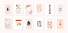 Set Of Christmas New Year Winter Holiday Greeting Cards With Xmas Decoration