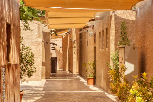 Old Dubai. Traditional Arabic streets in historical Al Fahidi district, Al Bastakiya. Dubai, United Arab Emirates.