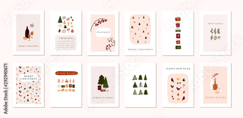 Obraz Set of christmas new year winter holiday greeting cards with xmas decoration - fototapety do salonu