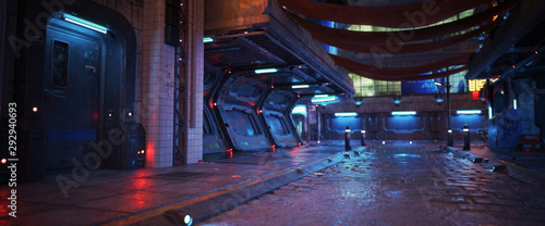 Obraz Urban city retro futuristic back drop background with neon accents. Neo-noir style 3d rendering. - fototapety do salonu