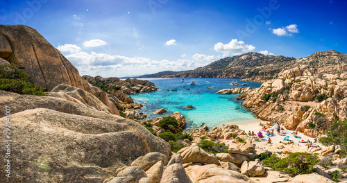 Canvas Prints Mediterranean Europe Panoramic view of Cala Coticcio on the island of Caprera, located in the La Maddalena archipelago national park, Sardinia