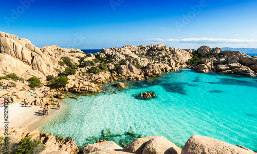 Garden Poster Blue Panoramic view of Cala Coticcio on the island of Caprera, located in the La Maddalena archipelago national park, Sardinia