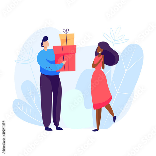 Fototapety, obrazy: Man giving presents to woman