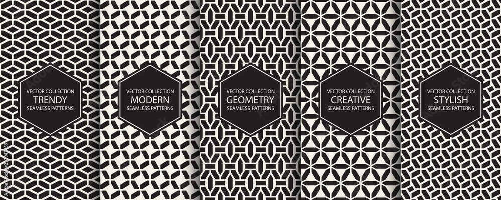 Fototapeta Collection of geometric simple seamless patterns - creative symmetric textures. Vector repeatable minimalistic backgrounds