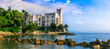 canvas print picture - Beautiful romantic castles of Italy - elegant Miramare in Trieste.