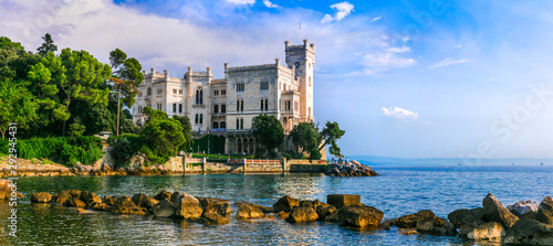 Obraz na plátne  Beautiful romantic castles of Italy - elegant Miramare in Trieste