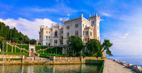 Beautiful romantic castle over the sea - Miramare. Landmarks of Trieste, northern Italy