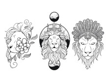 Geometric Floral Lion Tattoo Vector