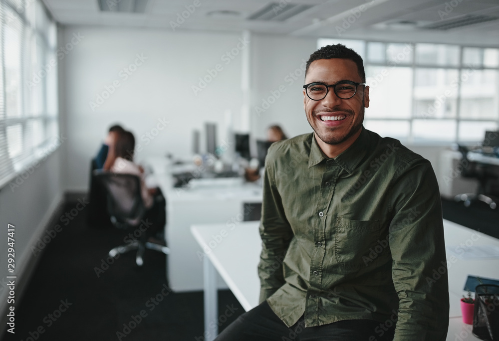 Fototapeta Portrait of a successful smiling young professional businessman sitting over desk in front of colleague working in background