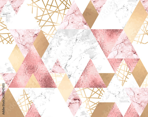 Seamless geometric pattern with metallic lines, rose gold, gray and pink marble triangles