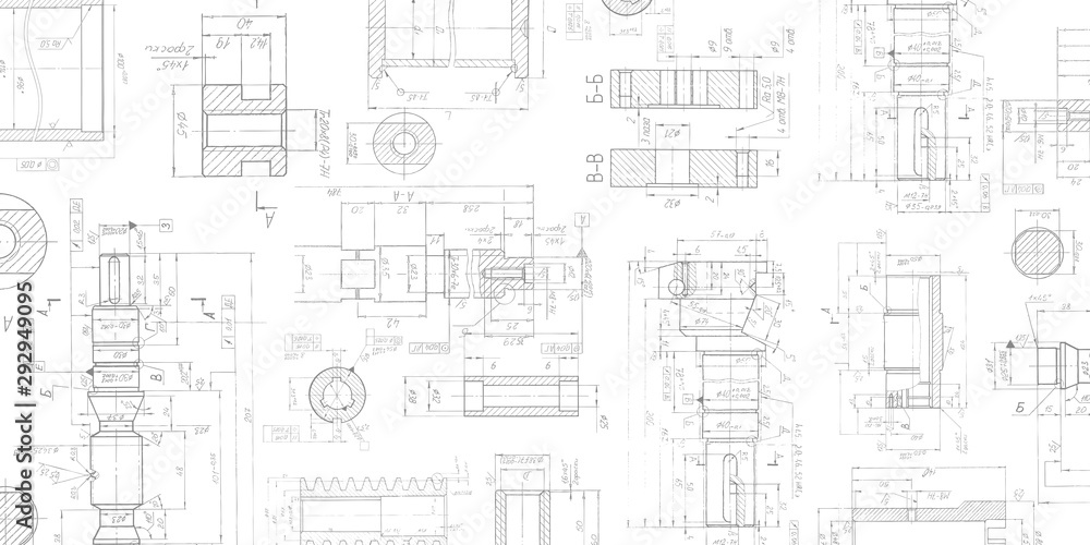 Fototapety, obrazy: Drawing details on a white background .Mechanical Engineering drawing .Parts for industrial construction.