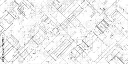 Obraz Technical drawing background .Mechanical Engineering drawing. - fototapety do salonu