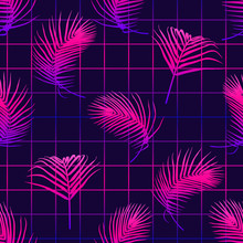 Seamless Pattern With Tropical Palm Leaves On Laser Grid Background. Futuristic Digital Vector Wallpaper. Vaporwave, Cyberpunk Aesthetics.