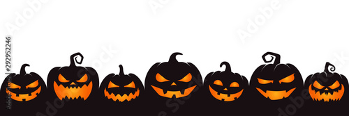 Leinwand Poster halloween pumpkin on white background
