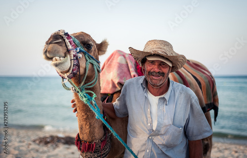 Wallpaper Mural Camel owner on the coast of Tunisia with his camel, close-up