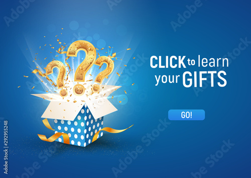 Cuadros en Lienzo Open textured blue box with question signs and confetti explosion inside and on blue background