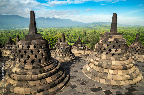 Tuinposter Bedehuis Buddhist stupas overlooking the mountains at Borobudur temple, Regency, Muntilan, Central Java, Indonesia