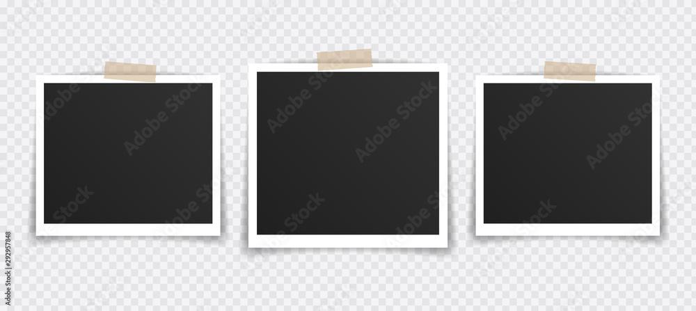 Fototapety, obrazy: Vector Photo frame mockup design. Photo frame on sticky tape isolated on transparent background. Vector illustration
