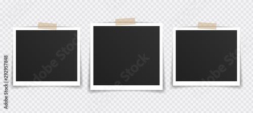 Obraz Vector Photo frame mockup design. Photo frame on sticky tape isolated on transparent background. Vector illustration - fototapety do salonu