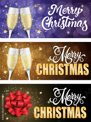 Photo Merry Christmas banner set with champagne glasses and stars