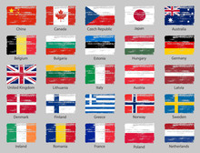 National Official Colors Flags Of European Countries And Some Big World Countries.