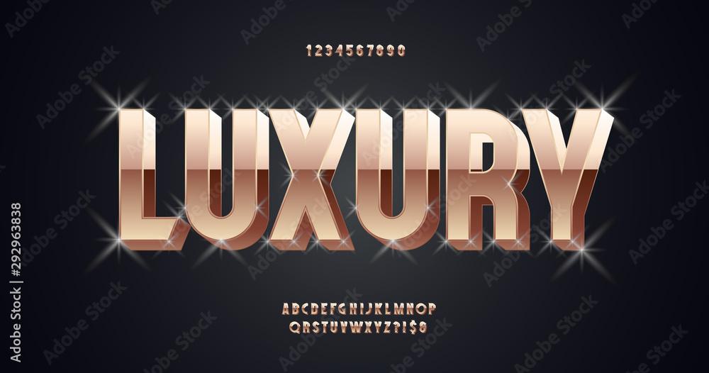 Luksusowa wektorowa czcionka 3D odważny złoty styl nowoczesna typografia. 10 eps