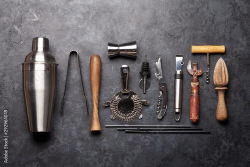 Carta da parati Cocktail utensils. Set of bar tools
