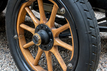Wheel Of Retro Car With Wooden...