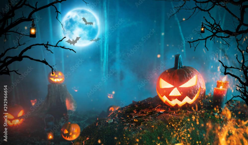 Fototapeta Spooky halloween pumpkins in dark forest
