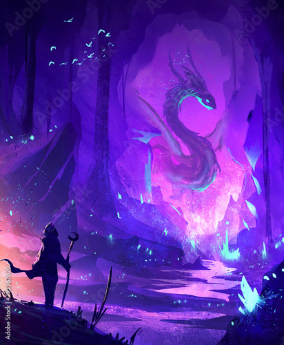 Obraz Abstract illustration of a warrior facing a dragon in cave - fototapety do salonu