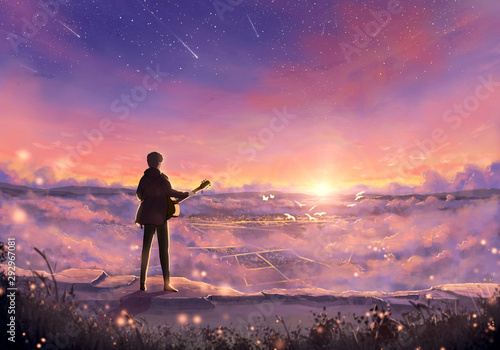 Abstract Illustration of a musician with a guitar in a colorful field