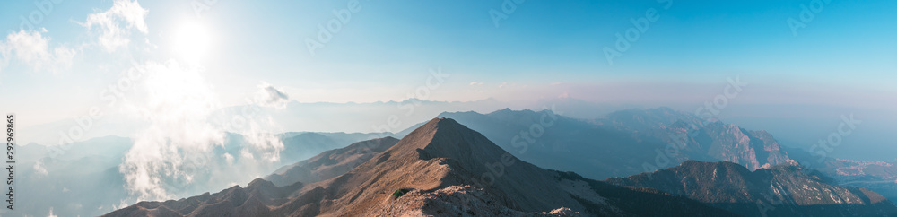 Fototapety, obrazy: Panoramic view of Taurus Mountain at sunset from the top of Tahtali Mountain near Kemer, Antalya, Turkey